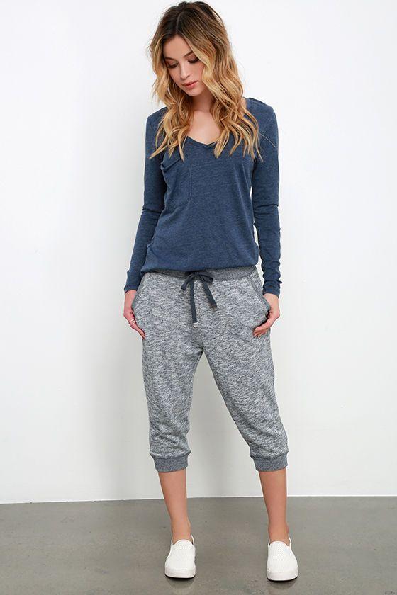 cropped jogger pants long sleeve tee