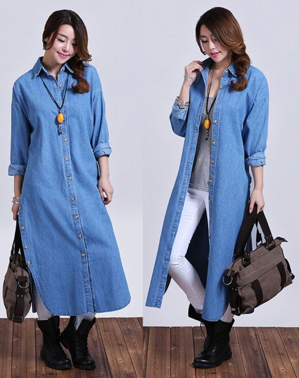 denim long shirt dress outfit