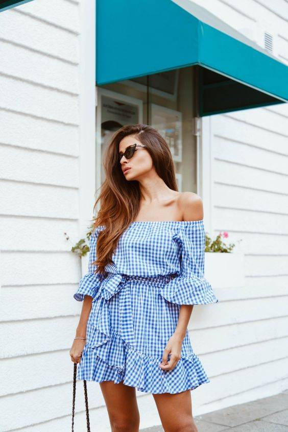 gingham off the shoulder dress