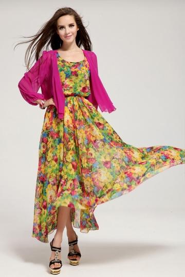 green chiffon floral maxi dress