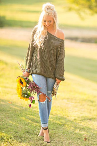 green off shoulder knit sweater ripped jeans