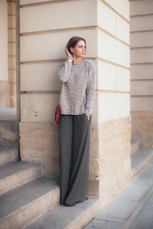 green wide leg pants knit sweater outfit
