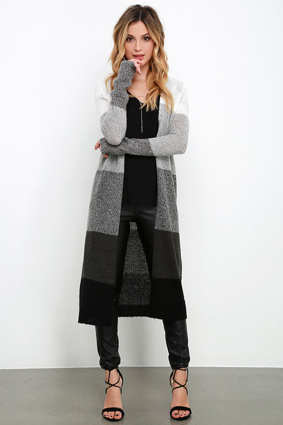 grey color black long cardigan sweater