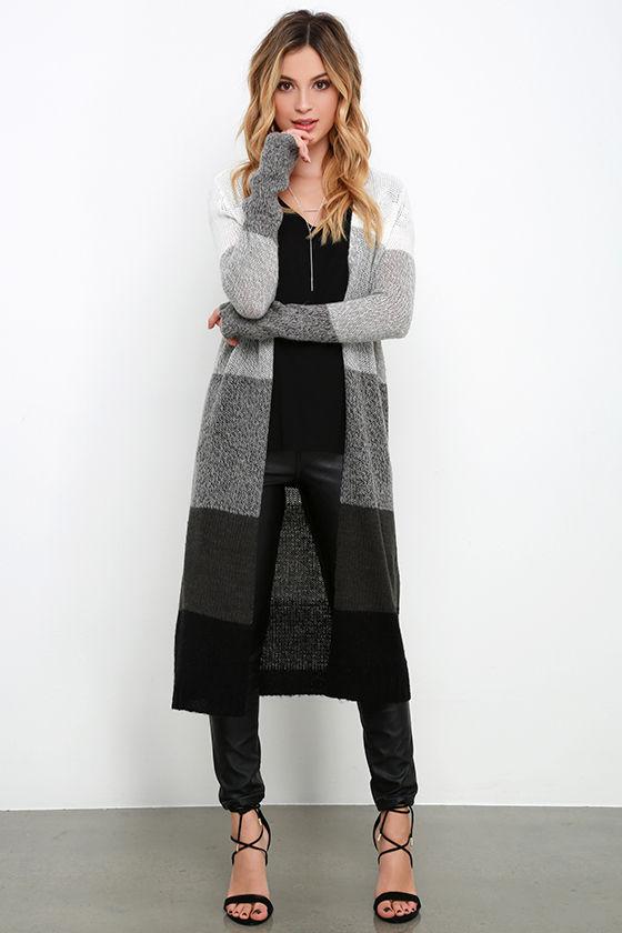 grey color black long cardigan sweater