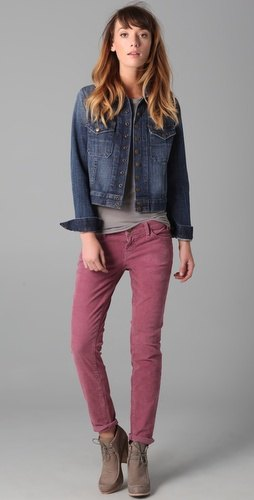 grey corduroy pants t shirt denim jacket