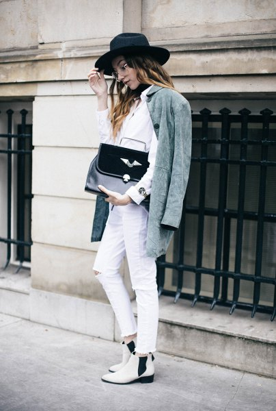 grey oversized jacket white shirt jeans