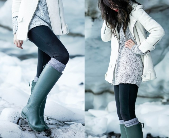 grey rain boots with sweater dress