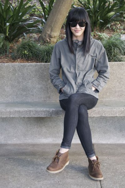 grey wind jacket skinny jeans chukka boots