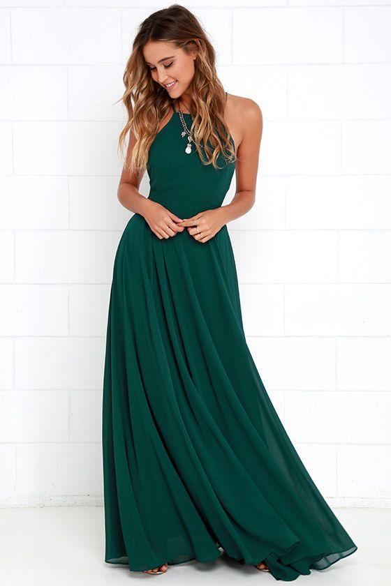 halter neckline emerald green dress