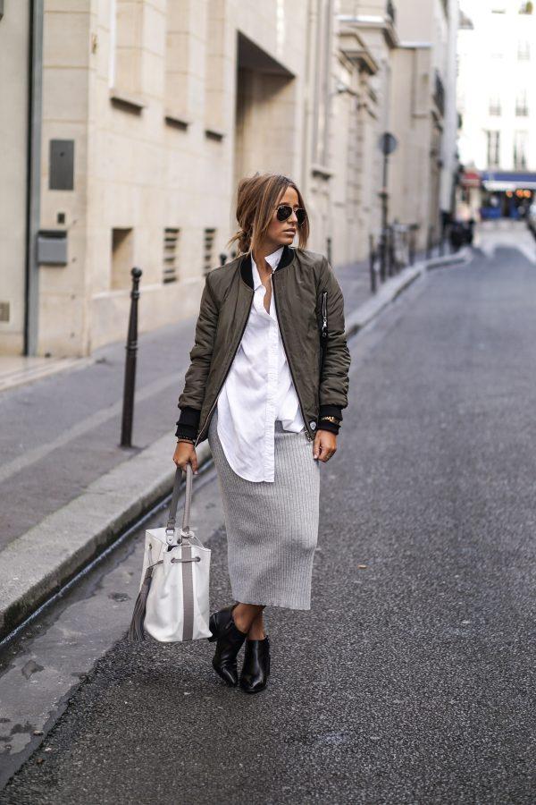 knit skirt green bomber jacket