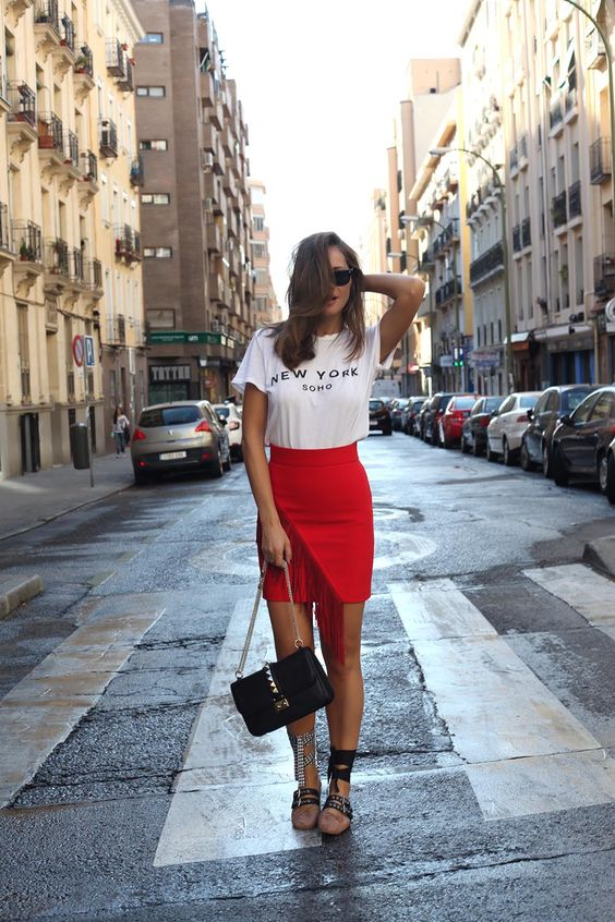 lace up flats red skirt