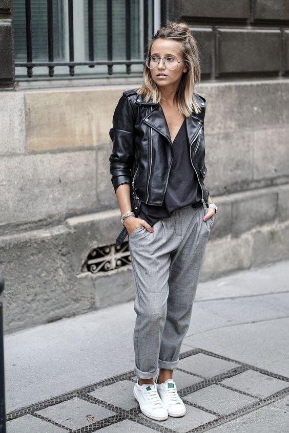 leather jacket grey chinos