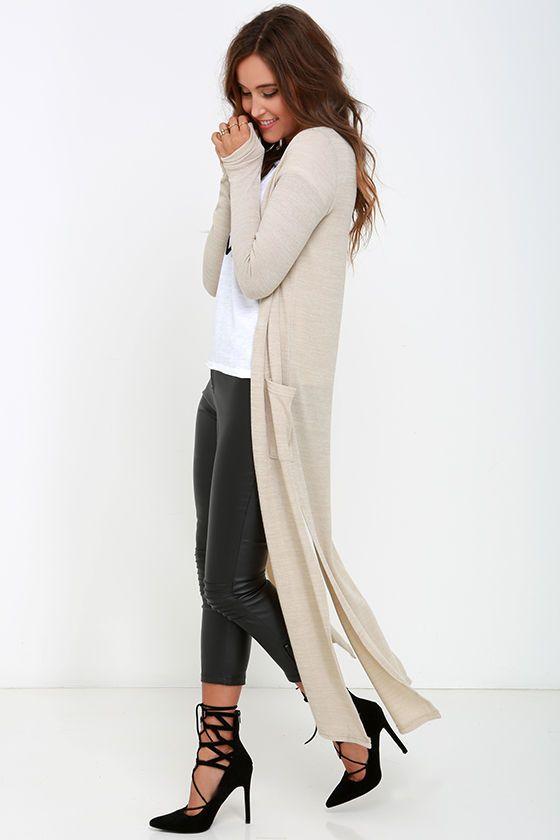 leather pants tan long cardigan sweater