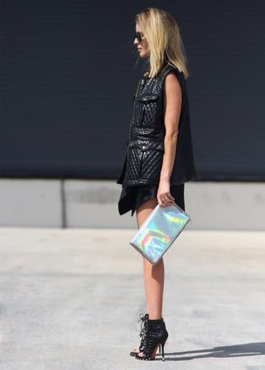 leather vest skirt peep toe booties