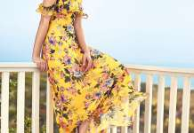 lemon yellow cold shoulder floral dress