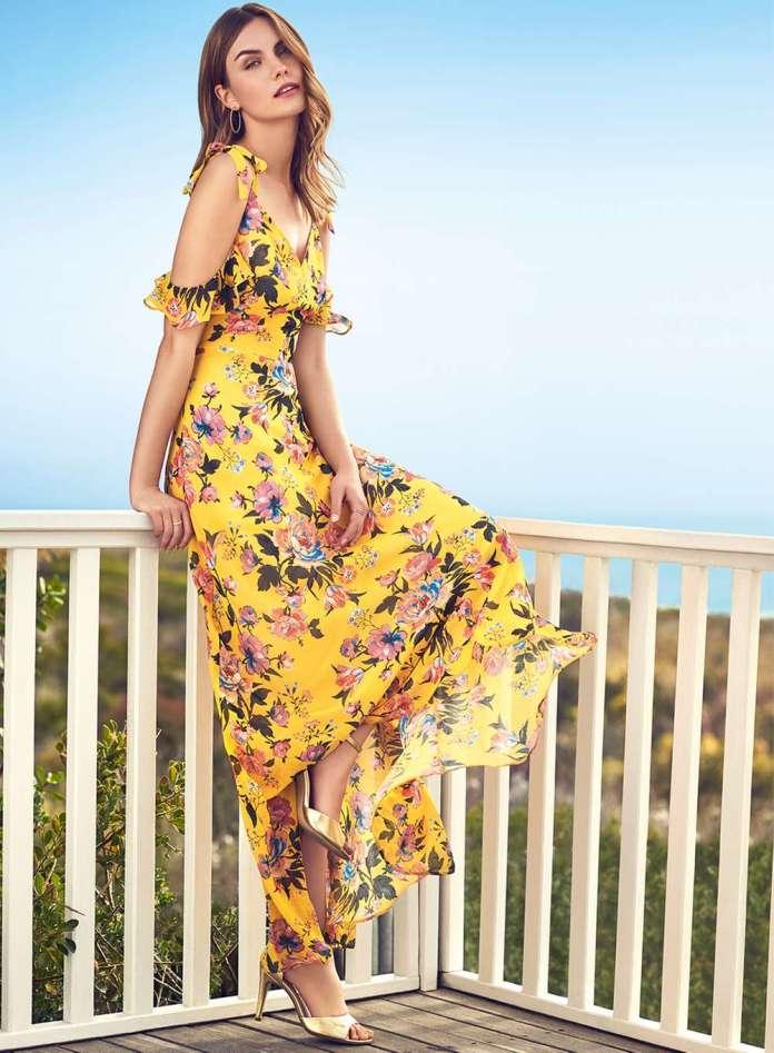 lemon yellow cold shoulder floral dress