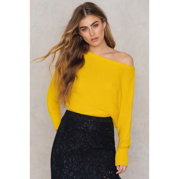 lemon yellow off the shoulder knit sweater lace skirt