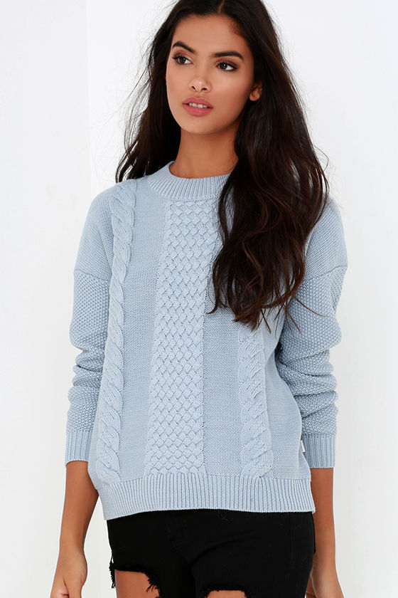 light blue cable knit sweater outfit