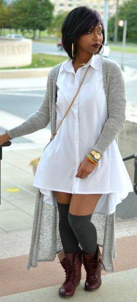 long cardigan white collar shirt dress