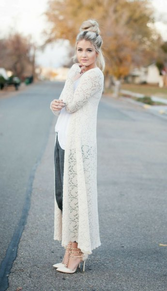 long cardigan white top outfit