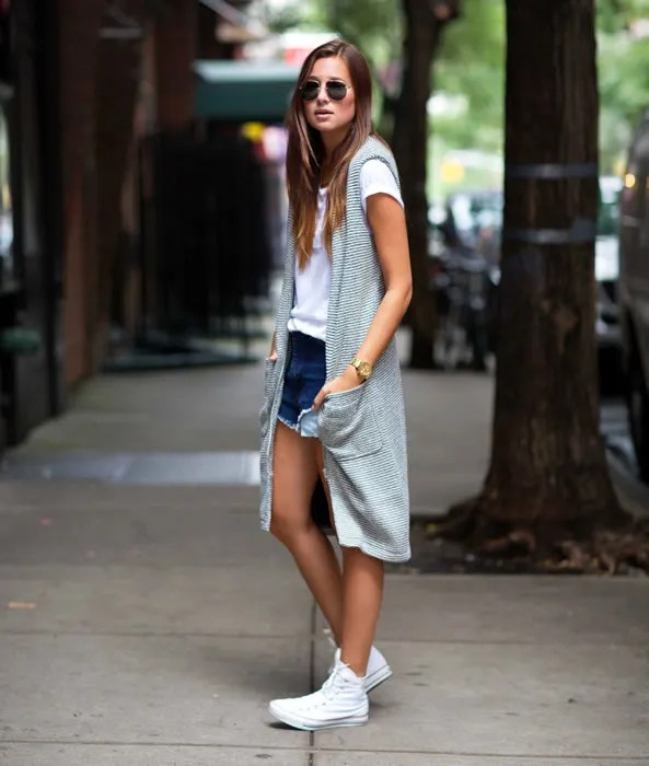 long sleeveless cardigan white high top converse