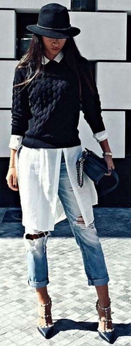 long white shirt with black fit sweater