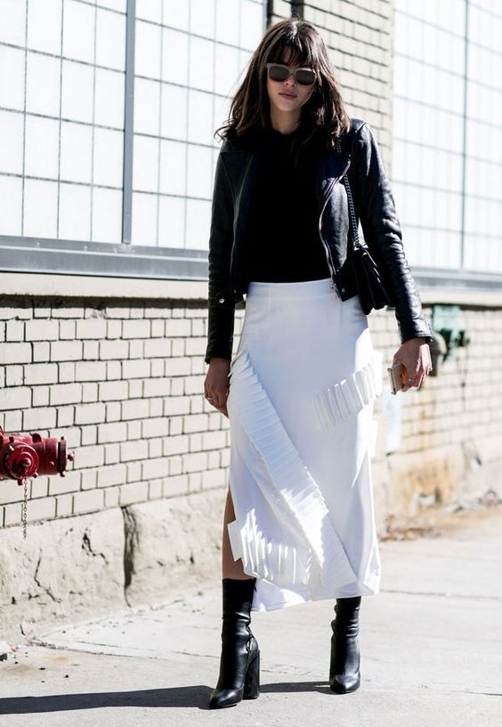 mid calf boots white skirt