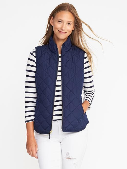 navy blue quilted vest striped tee