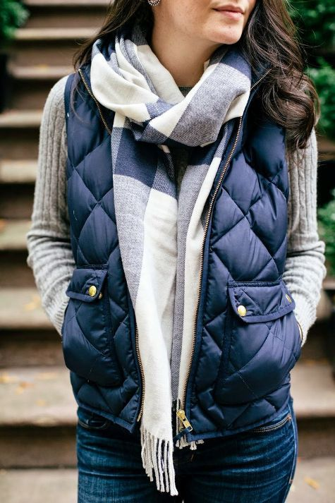 navy blue quilted vest with scarf
