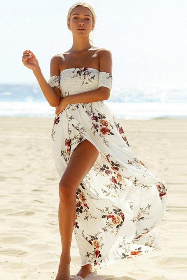 off shoulder floral maxi dress white