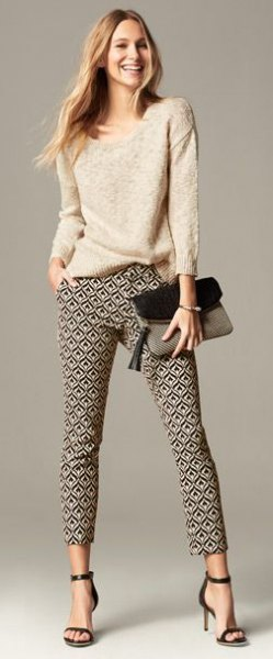 pale pink knit sweater floral print pants