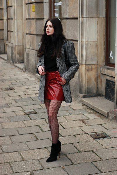 plaid oversize suit jacket and red leather skirt