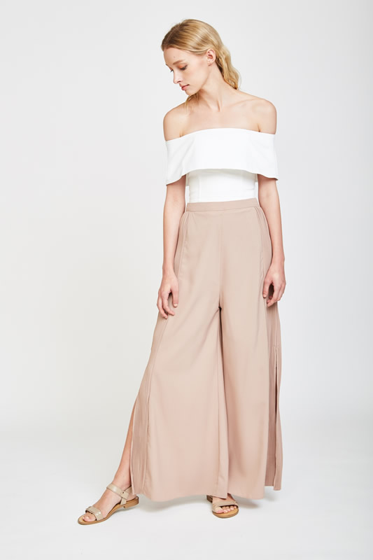 pleated wide leg pants pink