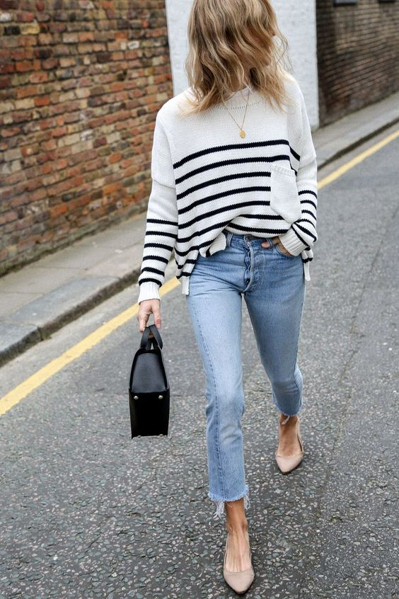 pointed toe shoes striped sweater