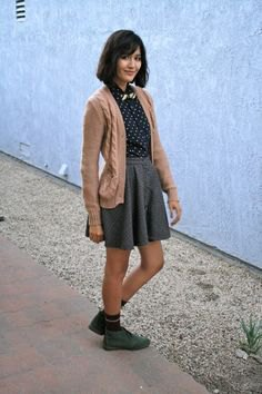 polka dot shirt high waisted shirt chukka boots