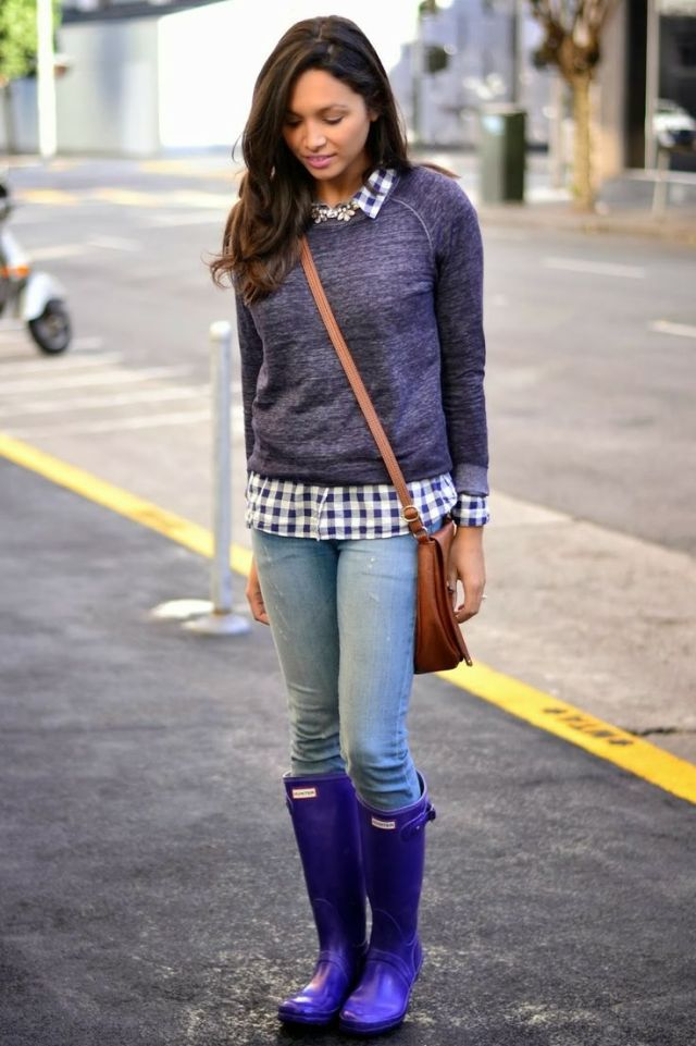 purple rain boots with sweater