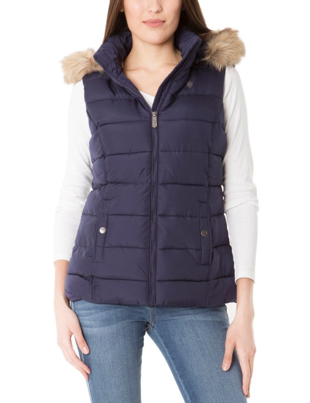 quilted vest with faux fur hood
