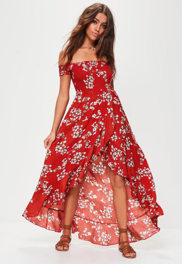 red floral maxi dress outfit