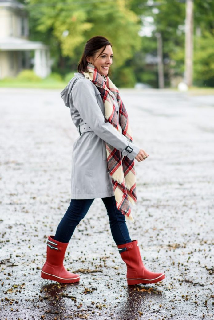red rain boots with grey coat