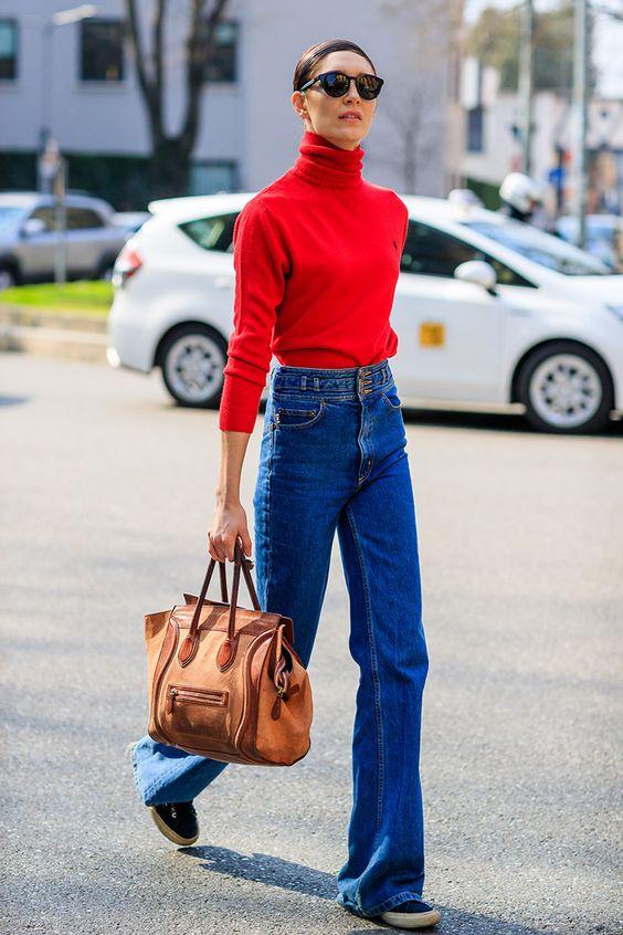 red turtleneck bell bottom jeans