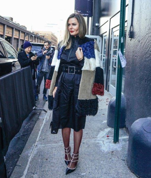 ruffle silk dress with black fishnet tights