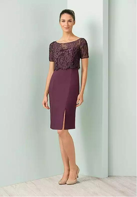 short purple mother of the bride dresses