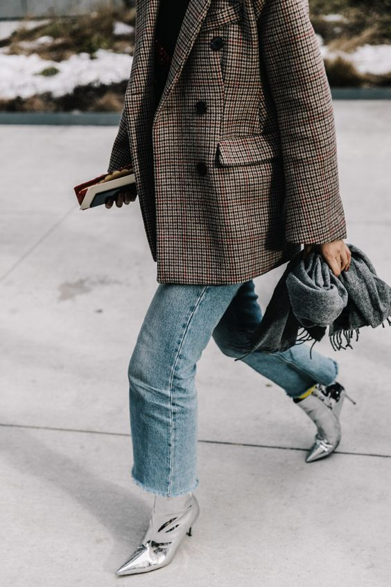 silver booties jeans plaid