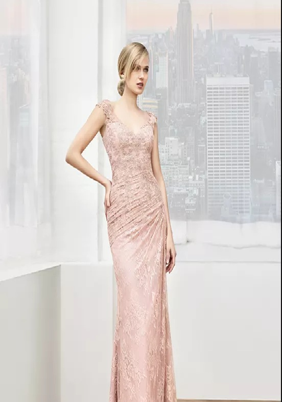 soft pink long mother of the bride dresses