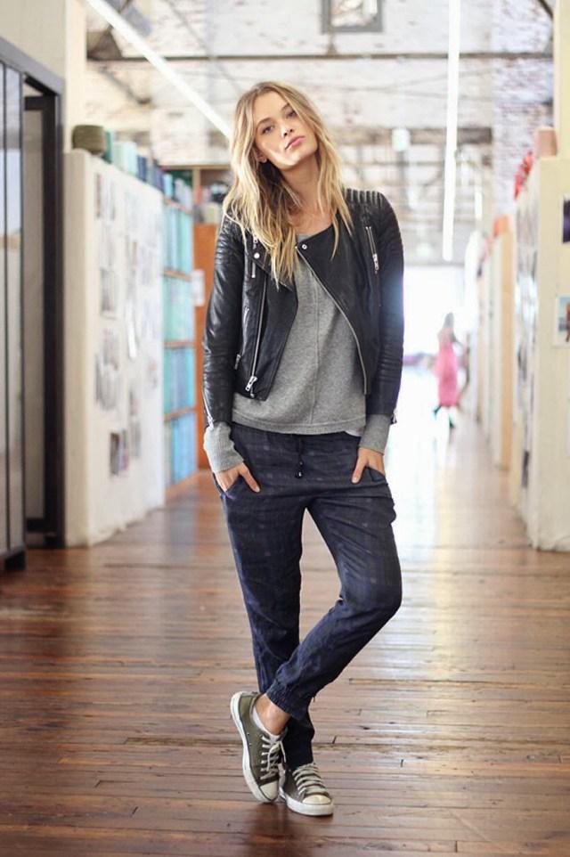 the stylish jogger pants black leather jacket