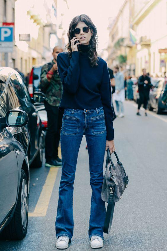 turtleneck bell bottom jeans