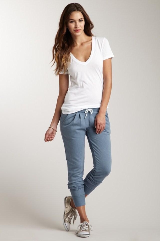 v neck white tee grey jogger pants