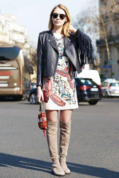 wear with black leather dress white printed tee dress