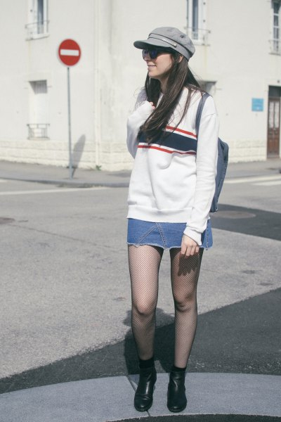 wear with white sweater and mini denim skirt