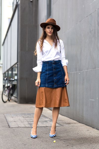 white button up shirt color black skirt felt hat